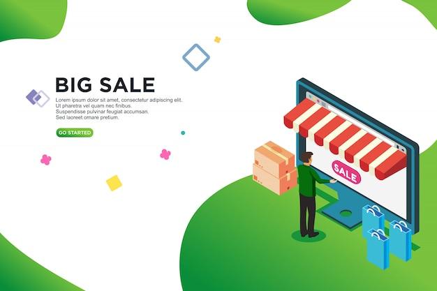 Conceito de design isométrico de grande venda