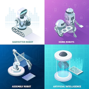 Conceito de design isométrico de inteligência artificial