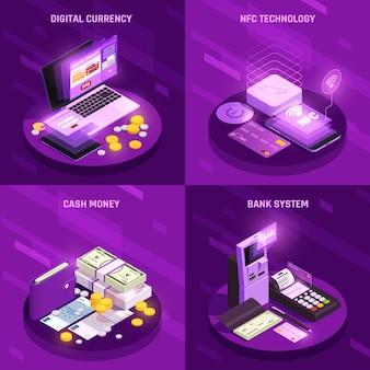 Conceito de design isométrico de métodos de pagamento