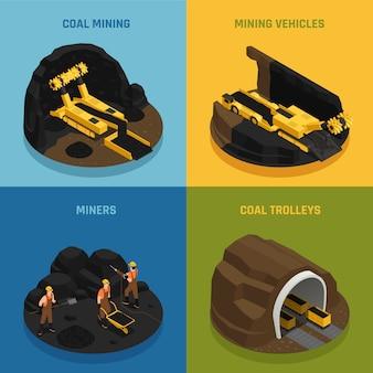 Conceito de design isométrico de mineração de carvão