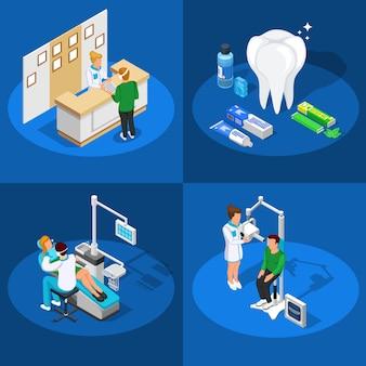 Conceito de design isométrico de odontologia