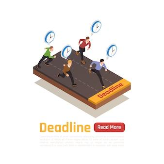 Conceito de design isométrico de prazo com pessoas de negócios correndo para o escritório para realização de trabalho urgente