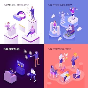 Conceito de design isométrico de realidade virtual