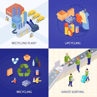 Conceito de design isométrico de reciclagem de lixo