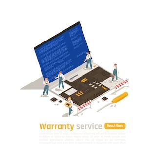 Conceito de design isométrico de serviço de garantia com pequenas estatuetas de técnicos fazendo o reparo do laptop grande