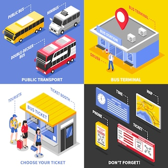 Conceito de design isométrico de terminal de ônibus