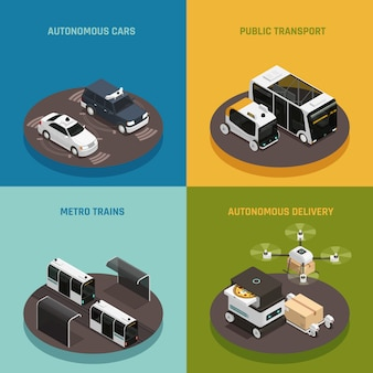 Conceito de design isométrico de veículos autônomos