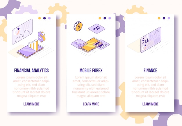 Conceito de design isométrico digital analytics conjunto-financeiro, modelo de banners verticais de tela de aplicativo móvel forex