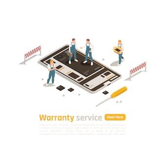Conceito de design isométrico do serviço de garantia com grupo de profissionais envolvidos em reparos e restauração de dispositivos eletrônicos de alta complexidade