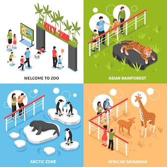 Conceito de design isométrico do zoológico 2x2
