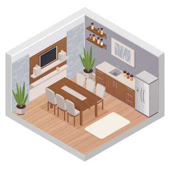 Conceito de design isométrico interior de cozinha com mobília moderna conjunto de tv e mesa de jantar para seis pessoas