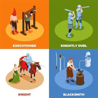 Conceito de design isométrico medieval com cena de tortura ferreiro de duelo de cavaleiros durante o trabalho ilustração vetorial