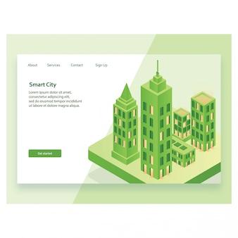 Conceito de design isométrico moderno de smart city landing page.