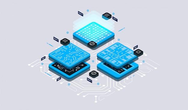 Conceito de design isométrico realidade virtual e realidade aumentada. desenvolvimento e programação de software. computação do grande data center, tecnologia isométrica de computador quântico
