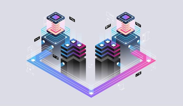 Conceito de design isométrico realidade virtual e realidade aumentada