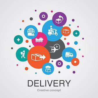 Conceito de design moderno da bolha da iu de entrega com ícones simples. contém elementos como devolução, pacote, correio, entrega expressa e muito mais