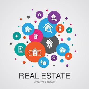Conceito de design moderno da bolha da iu dos bens imobiliários com ícones simples. contém elementos como propriedade, corretor de imóveis, localização, propriedade à venda e muito mais