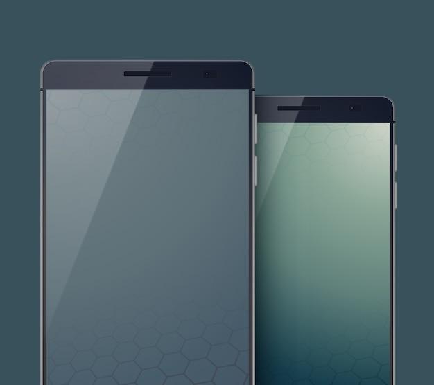 Conceito de design moderno de celular com dois elegantes smartphones pretos em cinza