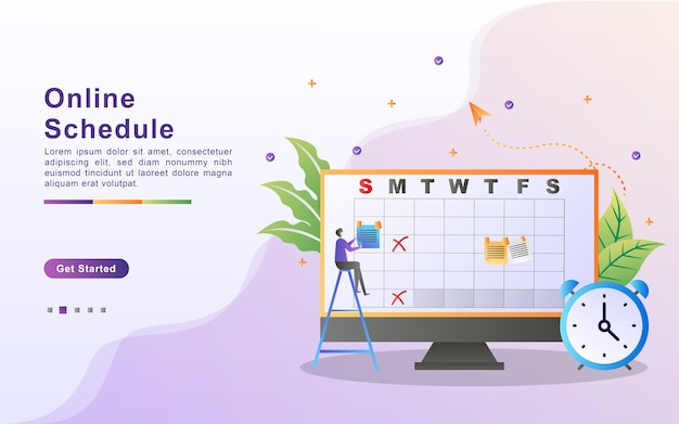 Conceito de design moderno plano de programação online. serviço de agendamento online, gerenciamento de tempo, conceito de agenda de planejamento com personagens.