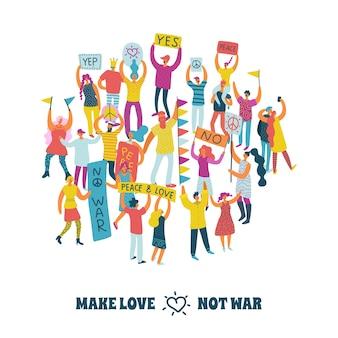 Conceito de design people for peace com multidão protestando e texto faça amor, não guerra