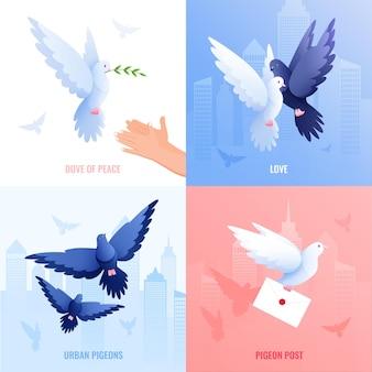 Conceito de design plano 2x2 dos pombos com conjunto de composições quadradas com pomba da paz e poste
