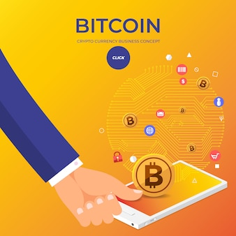 Conceito de design plano bitcoin cryptocurrency