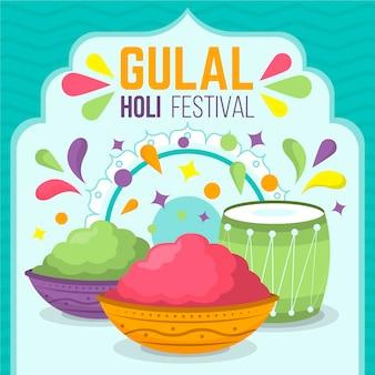 Conceito de design plano colorido holi gulal