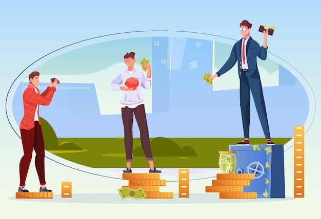 Conceito de design plano com três personagens humanos com diferentes níveis de renda ilustração