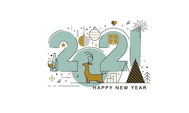 Conceito de design plano de cartão de feliz ano novo 2021, cartão moderno e minimalista ou plano de fundo. design moderno de linha fina.