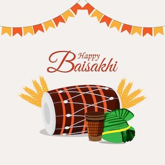 Conceito de design plano de celebração feliz vaisakhi