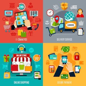 Conceito de design plano de comércio eletrônico