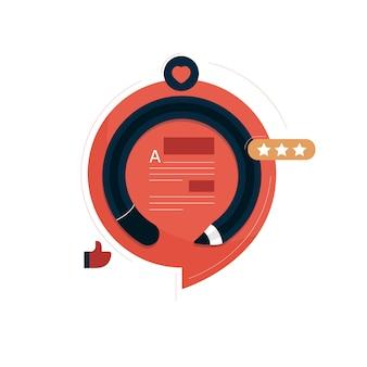 Conceito de design plano de escritor de conteúdo criativo, blogueiro, conteúdo de qualidade, redator