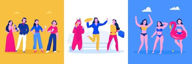 Conceito de design plano de festa com pessoas sorridentes usando vestidos, fantasias, pijamas, maiôs, ilustração isolada