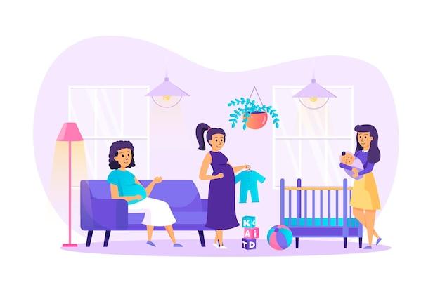 Conceito de design plano de gravidez e maternidade com cena de personagens de pessoas
