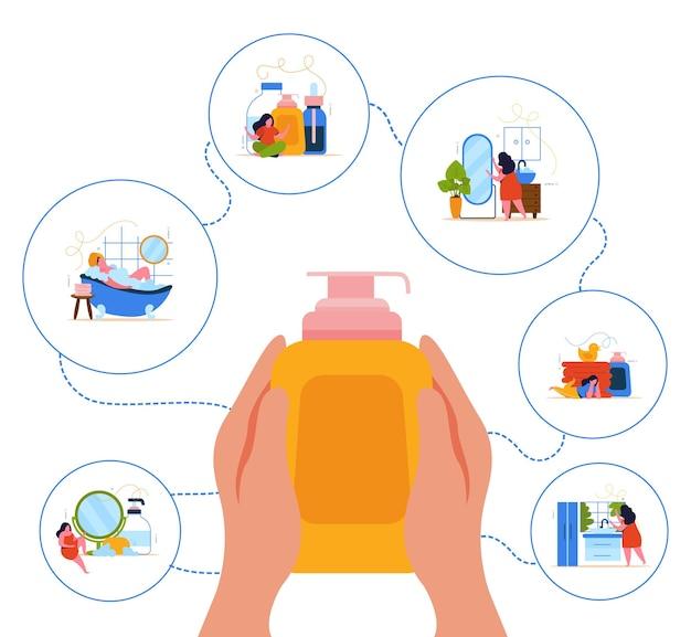 Conceito de design plano de hora do banho com ícones redondos higiênicos ao redor de mãos humanas segurando um frasco de xampu