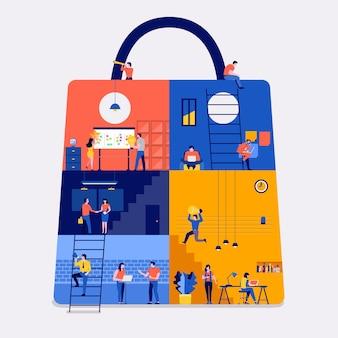 Conceito de design plano de ilustrações espaço de trabalho criar ícone site de compras online