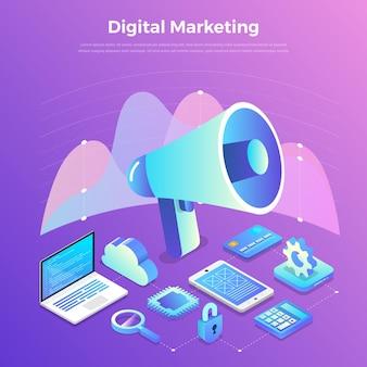 Conceito de design plano de ilustrações marketing digital