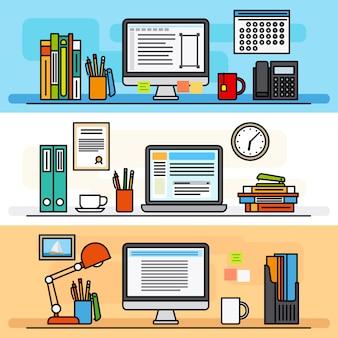Conceito de design plano de linha fina de espaço de trabalho designer