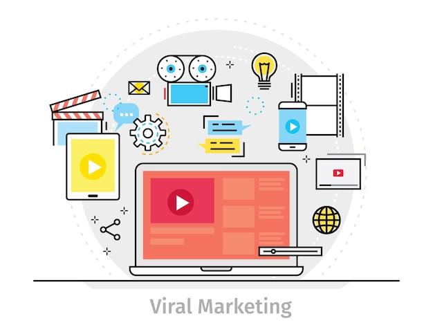 Conceito de design plano de linha fina para marketing viral