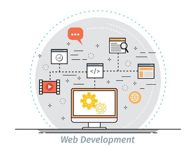 Conceito de design plano de linha fina para web design e desenvolvimento