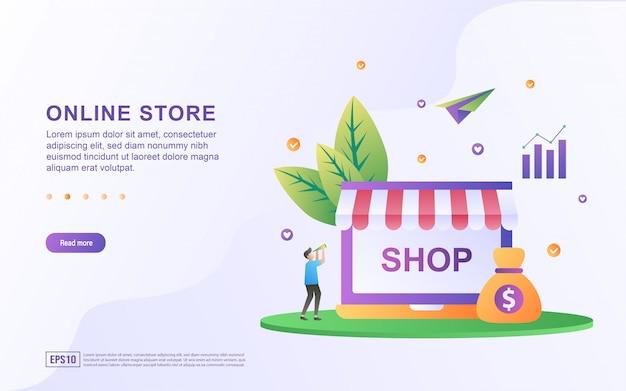 Conceito de design plano de loja online.