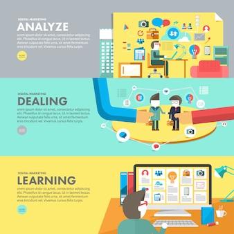 Conceito de design plano de marketing digital