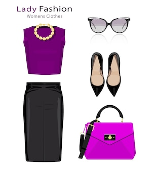 Conceito de design plano de olhar de moda. roupas de mulher com acessórios. objetos coloridos de roupas da moda