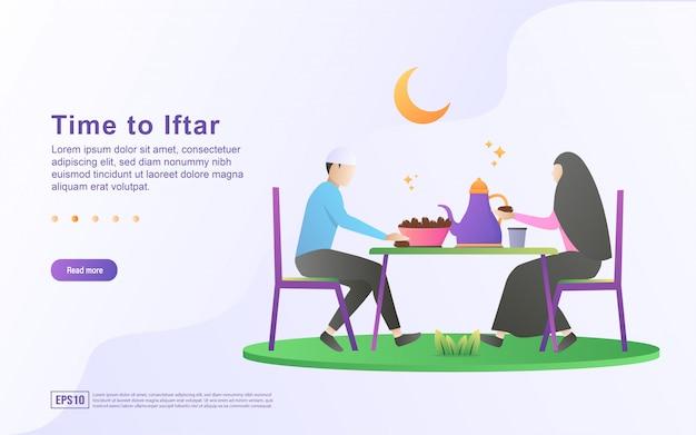 Conceito de design plano de ramadan kareem. as pessoas estão esperando o tempo iftar. feliz quando chegar a hora. hora de iftar, feliz festa iftar.