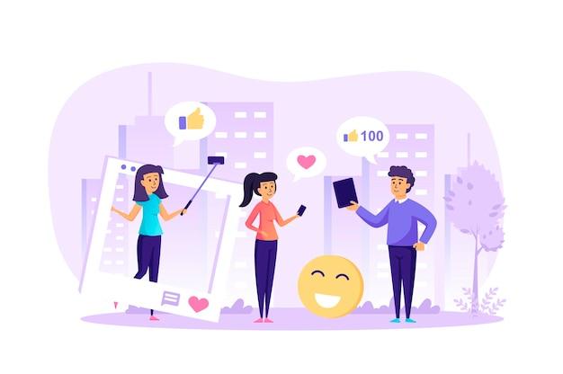 Conceito de design plano de rede social e blogging na internet com cena de personagens de pessoas