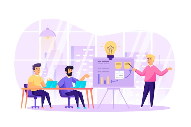 Conceito de design plano de reunião de negócios e trabalho em equipe com cena de personagens de pessoas
