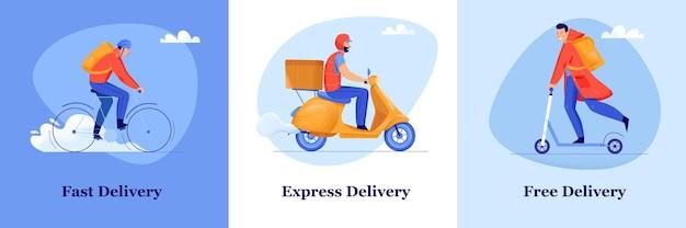 Conceito de design plano de serviço de entrega rápida e gratuita com homens entregando pacotes de bicicleta, moto e scooter isolados