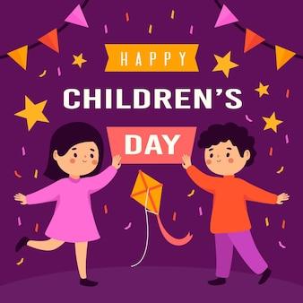 Conceito de design plano do dia mundial da criança