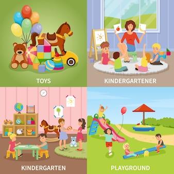 Conceito de design plano do jardim de infância
