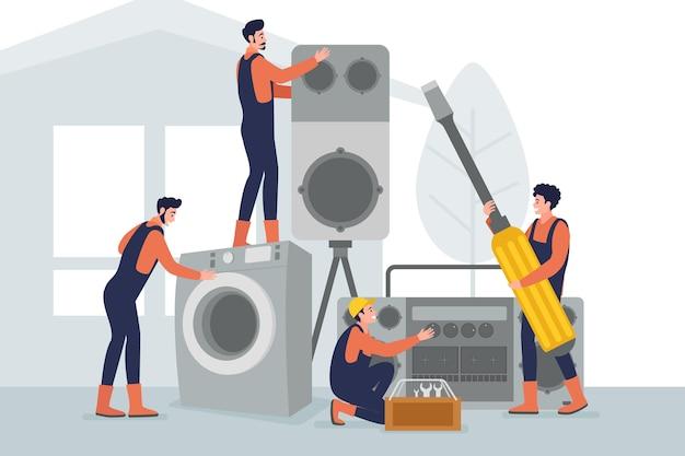 Conceito de design plano doméstico e profissões de renovação